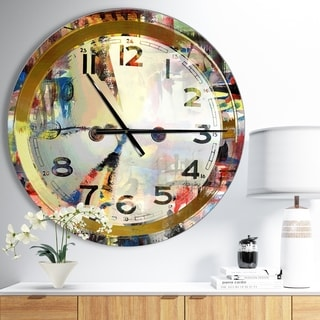 Designart 'People and Time Acrylic Watercolor' Oversized Modern Wall CLock