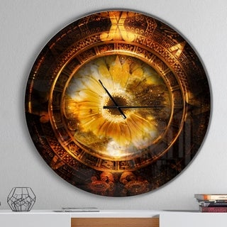 Designart 'Ancient Mayan Calendar Collage' Oversized Modern Metal Clock