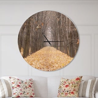 Designart 'Yellow Road through Fall Forest' Oversized Traditional Wall CLock