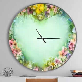 Designart 'Vintage Flowers with Heart Shape' Oversized Traditional Wall CLock
