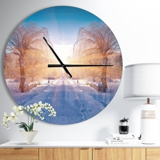 Designart 'Winter Landscape in City Park' Oversized Traditional Wall CLock