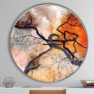 Designart 'Surrealistic trees with red sun' Oversized Modern Wall CLock