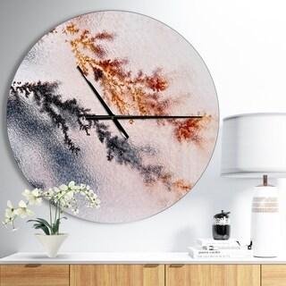 Designart 'Moss Agate and Dendrite Crystals macro' Oversized Modern Wall CLock