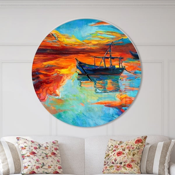 Designart 'Fishing Sailing Boat at Red Sunset' Oversized Coastal Wall CLock