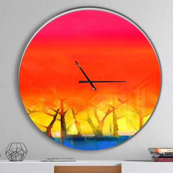 Designart 'Tree and Red Sky Spring Season' Oversized Landscapes Wall CLock
