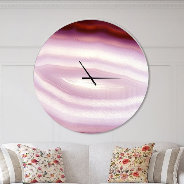 Designart 'Pink Agate Geode Geological Crystals' Oversized Modern Wall CLock. Opens flyout.