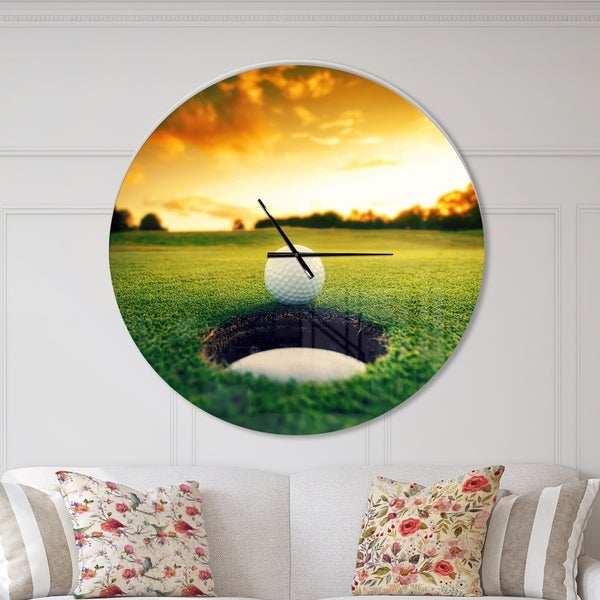 Designart 'Golf Ball Near Hole' Oversized Sport Wall CLock