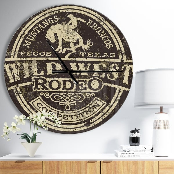 Designart 'Wild west rodeo' Oversized Farmhouse Wall CLock
