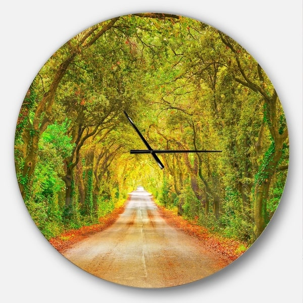 Designart Fall Greenery And Road Straight Ahead Large Traditional Wall Clock On Sale Overstock 23534941