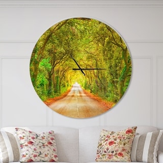 Designart 'Fall Greenery and Road Straight Ahead' Large Traditional Wall CLock