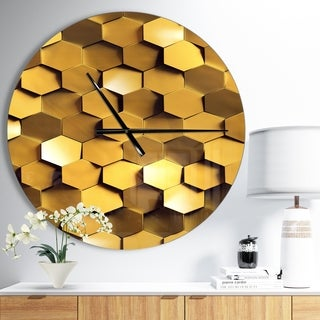 Designart 'Golden Honeycomb Wall Texture' Oversized Modern Wall CLock