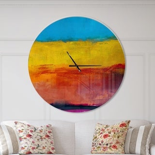Designart 'Yellow Blue Orange in Abstract Painting background' Oversized Modern Wall CLock