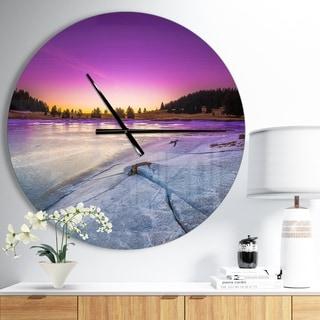 Designart 'Sunrise over Frozen Lake' Oversized Landscapes Wall CLock