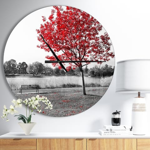 Designart 'Red Tree over Park Bench' Large Floral Wall CLock