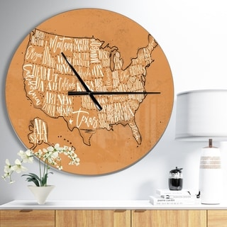 Designart 'United States Yellow Vintage Map' Large Global Wall CLock