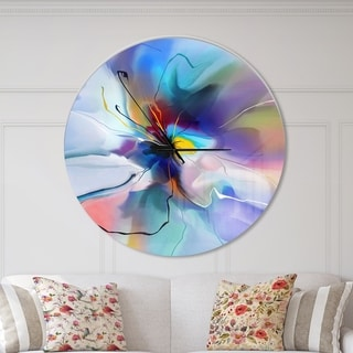 Designart 'Abstract Creative Blue Flower' Oversized Floral Wall CLock