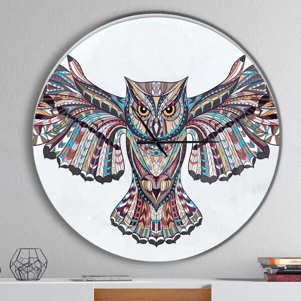 Designart 'Owl on the Grudge' Oversized Children's Art Wall CLock