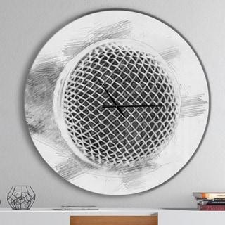 Designart 'Microphone in Pencil Sketch' Oversized Fashion Wall CLock