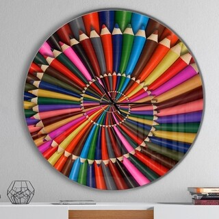 Designart 'Rainbow Pencil Spiral' Oversized Contemporary Wall CLock
