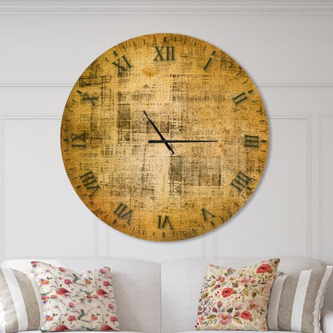 Designart 'Antique face on Parchment' Oversized Rustic Wall CLock