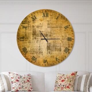 Designart 'Antique face on Parchment' Oversized Rustic Metal Clock