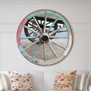 Designart 'Turquoise Painted Cottage Wagon Wheel Clock' Oversized Farmhouse Wall CLock