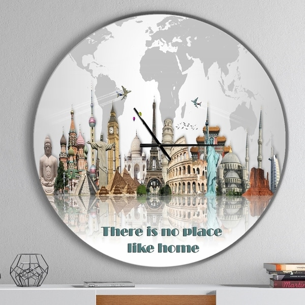 Designart 'There is no place like home World Tour' Oversized Quote Wall CLock