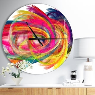 Designart 'Colorful Thick Strokes' Oversized Modern Wall CLock
