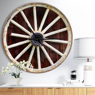 Designart 'Country Wagon Wheel on Wooden Wall Clock' Oversized Farmhouse Wall CLock