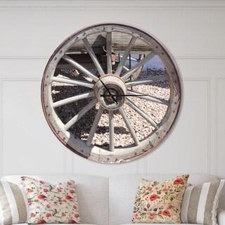 Designart 'Spanish Cottage Carriage Wheel' Oversized Farmhouse Wall CLock