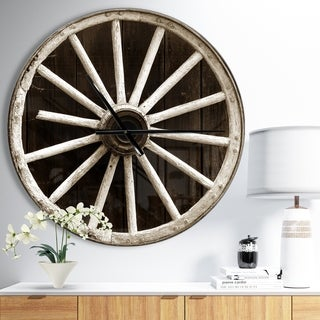 Designart 'Sepia Country Wagon Wheel Clock' Oversized Farmhouse Wall CLock