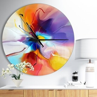 Designart 'Creative Flower in Multiple Colors' Oversized Modern Wall CLock