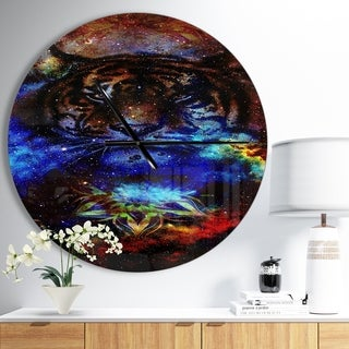 Designart 'Colorful Tiger Collage' Oversized Traditional Wall CLock