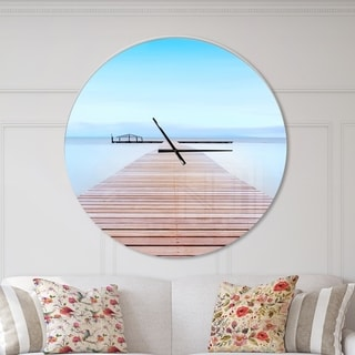 Designart 'Wooden Pier in Cold Atmosphere' Oversized Landscapes Wall CLock
