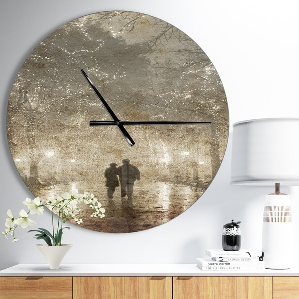 Designart Couple Walking In Night Lights Oversized Landscapes Wall Clock Overstock 23534994 23 In Wide X 23 In High
