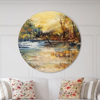 Designart 'Stream in Forest Oil Painting' Oversized Traditional Wall CLock
