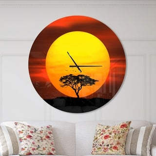 Designart 'Lonely Tree with Birds at Sunset' Oversized Traditional Wall CLock