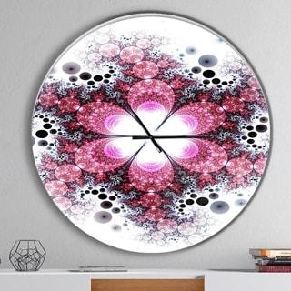 Designart 'Violet Fractal Flower Pattern' Oversized Modern Wall CLock