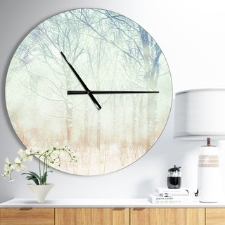 Designart 'Winter with Foggy Forest' Oversized Landscapes Wall CLock