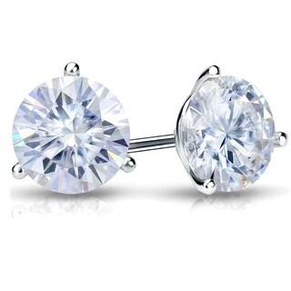 Auriya Round Moissanite Stud Earrings 1 1 2ct DEW 3 Prong Martini Set 14k Gold 5 9 Mm