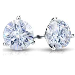 Platinum 3 1/2ct TGW Round 3 Prong Martini Moissanite Stud Earrings by Auriya - 3.50ct
