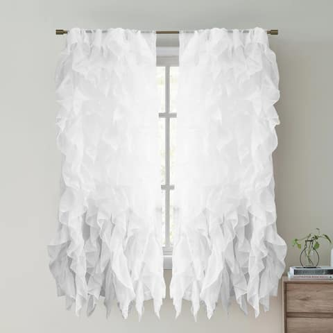 "Sweet Home Collection Waterfall Ruffled 63 Inch Single Curtain Panel - 63""x50"""