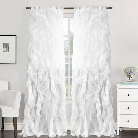 """Sweet Home Collection Sheer Voile Waterfall Ruffled Tier 108 Inch Single Curtain Panel - 108"""" long x 50"""" wide"""
