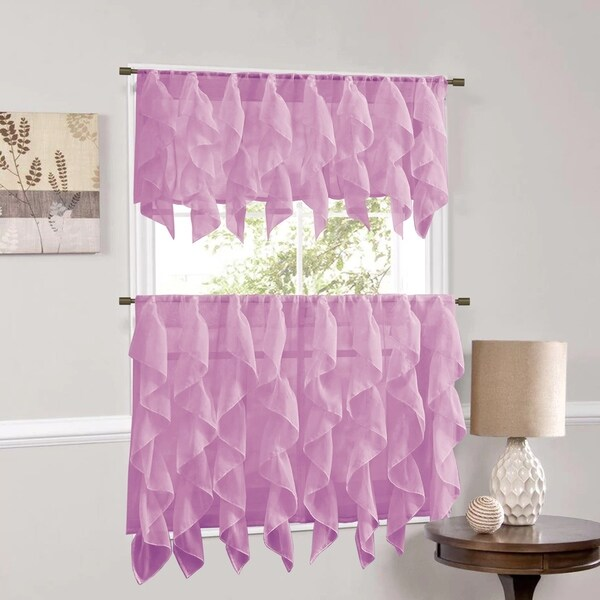 Sweet Home Collection Lavender Vertical Ruffled Waterfall Valance and Curtain Tiers