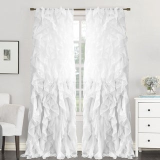 96 Inch White Ruffle Panel Curtains
