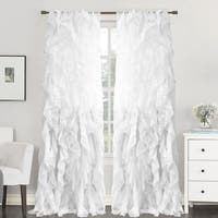 "Sweet Home Collection Sheer Voile Waterfall Ruffled Tier 96 Inch Single Curtain Panel - 96"" long x 50"" wide"