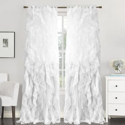 """Sweet Home Collection Sheer Voile Waterfall Ruffled Tier 96 Inch Single Curtain Panel - 96"""" long x 50"""" wide"""