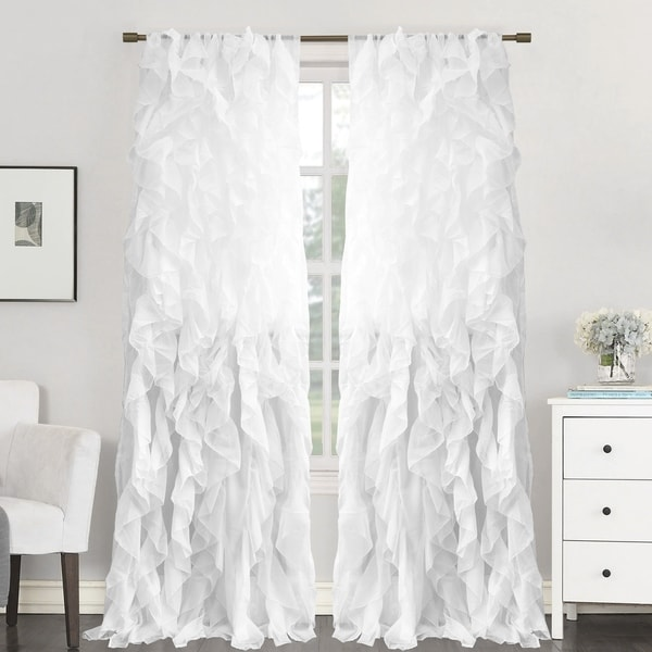 """Sweet Home Collection Sheer Voile Waterfall Ruffled Tier 96 Inch Single Curtain Panel - 96"""" long x 50"""" wide. Opens flyout."""