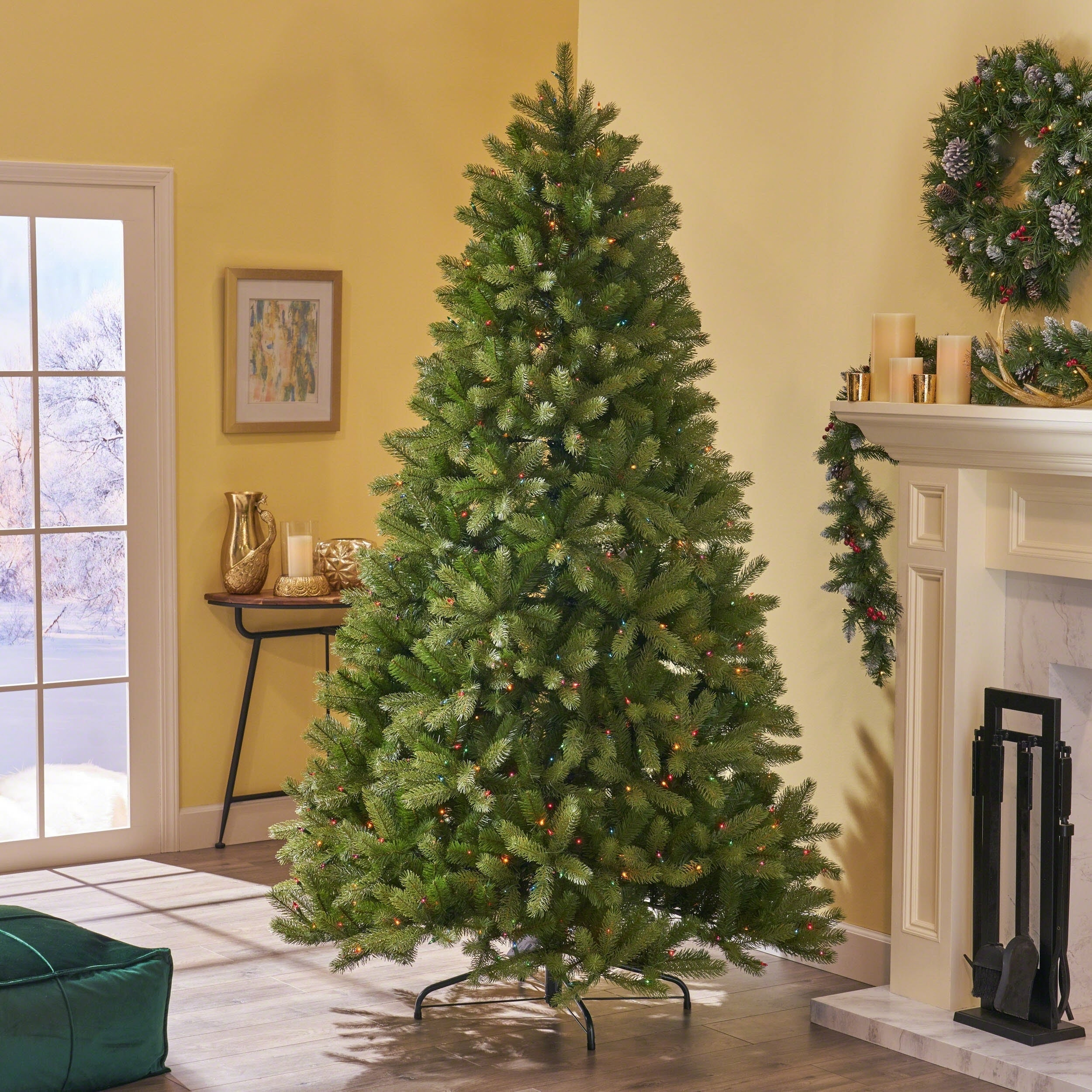 new concept 5f810 43415 Details about 7-ft Mixed Spruce Pre-Lit or Unlit Artificial Christmas Tree