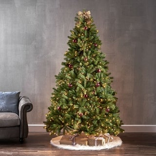 7-Foot Mixed Spruce Pre-Lit String Light or Unlit Hinged Artificial Christmas Tree by Christopher Knight Home